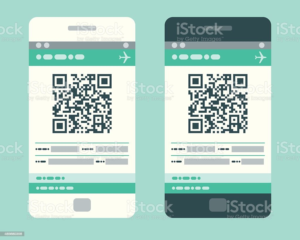 Electronic Boarding Pass on Smartphone vector art illustration