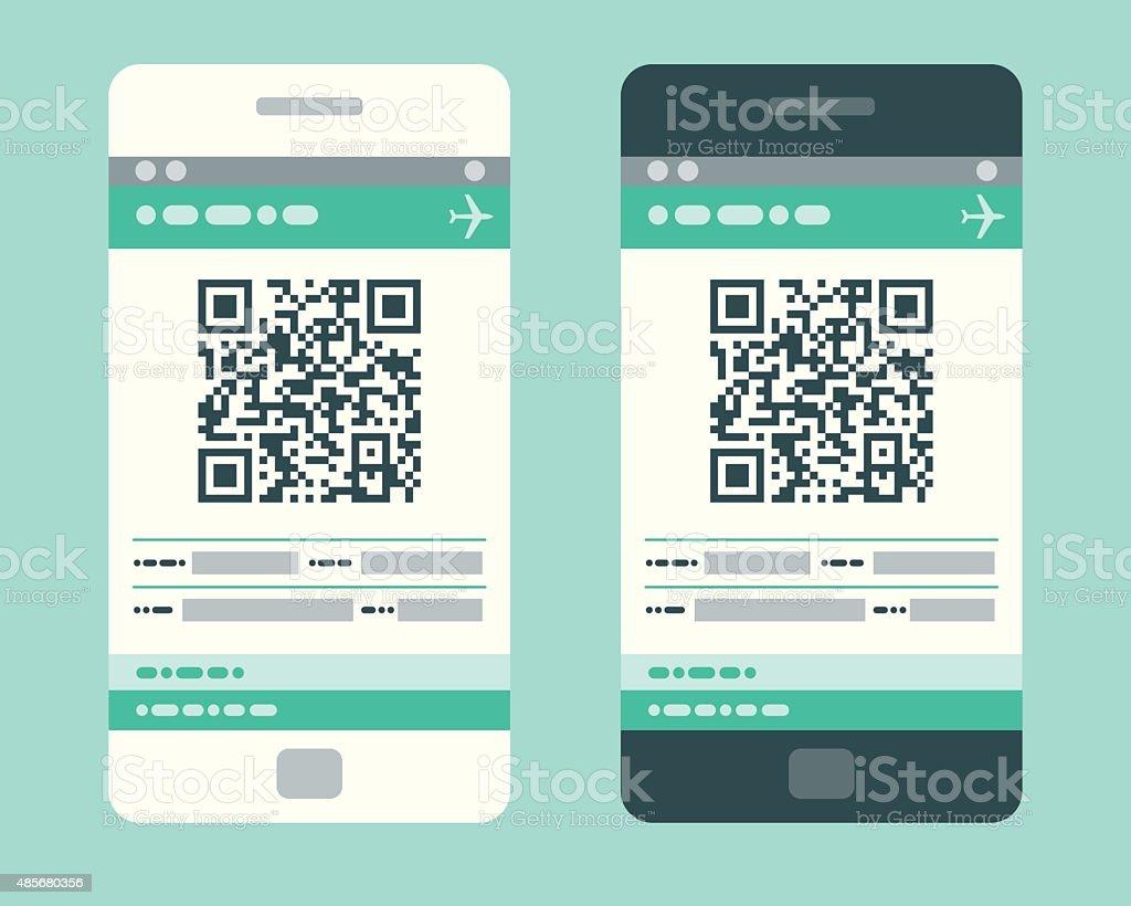 Electronic Boarding Pass on Smartphone vector art illustration