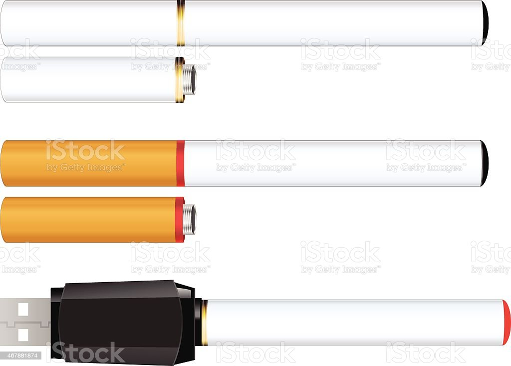 Electronic Cigarette Battery, Cartridge and Charger vector art illustration
