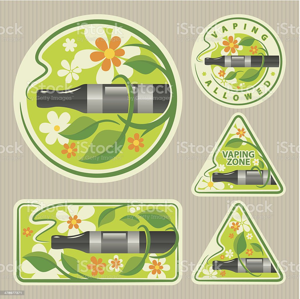 Electronic Cigarette Clip Art Stickers royalty-free stock vector art