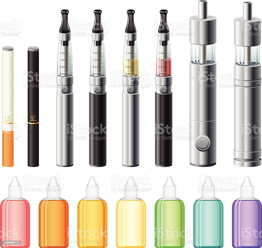 Electronic Cigarettes and E-Liquid Icon Set vector art illustration