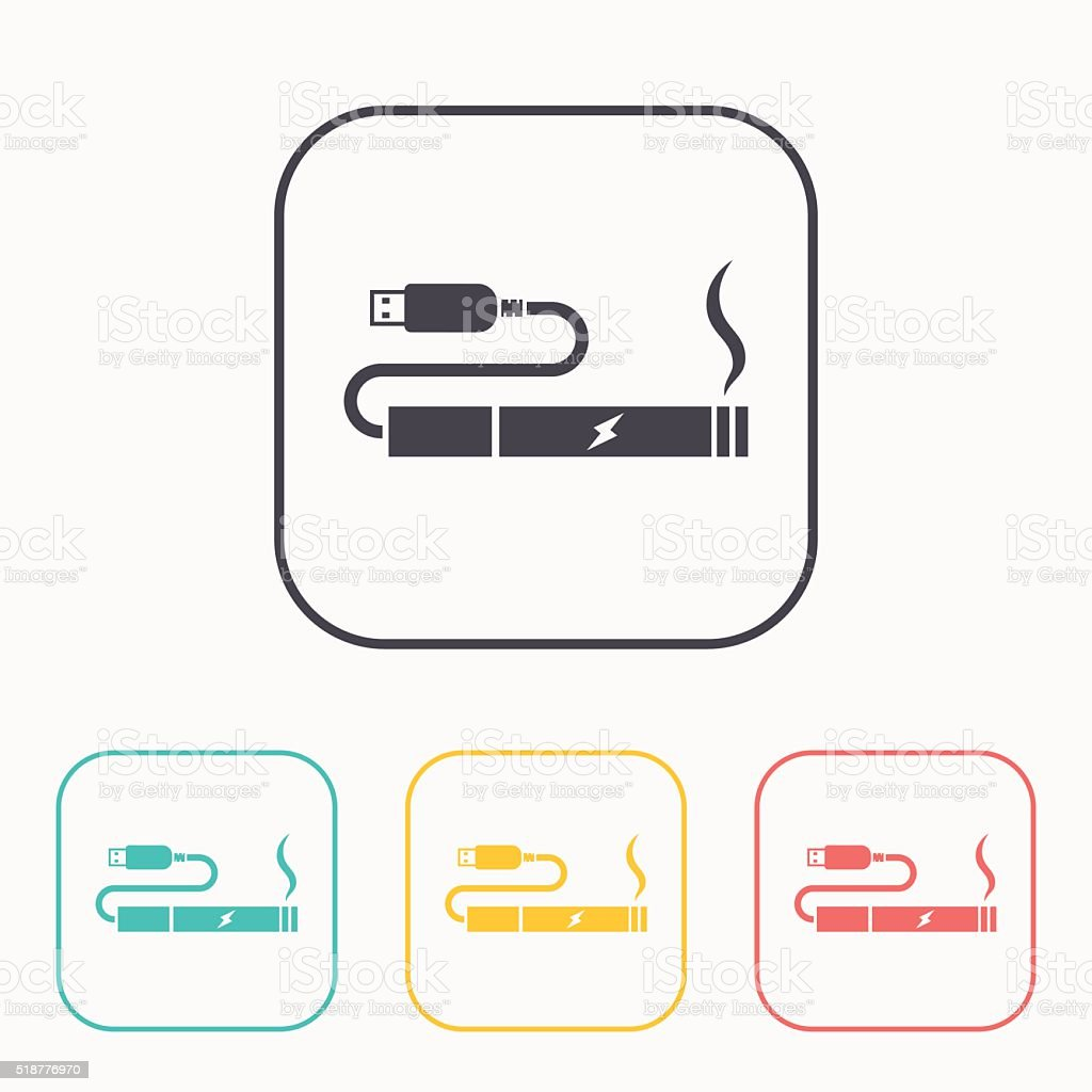 electronic cigarettes charge from pc port color icon set vector art illustration