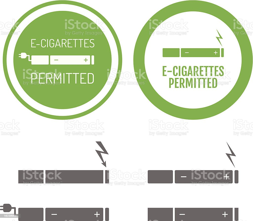 Electronic cigarettes permitted sign with set of icons royalty-free stock vector art