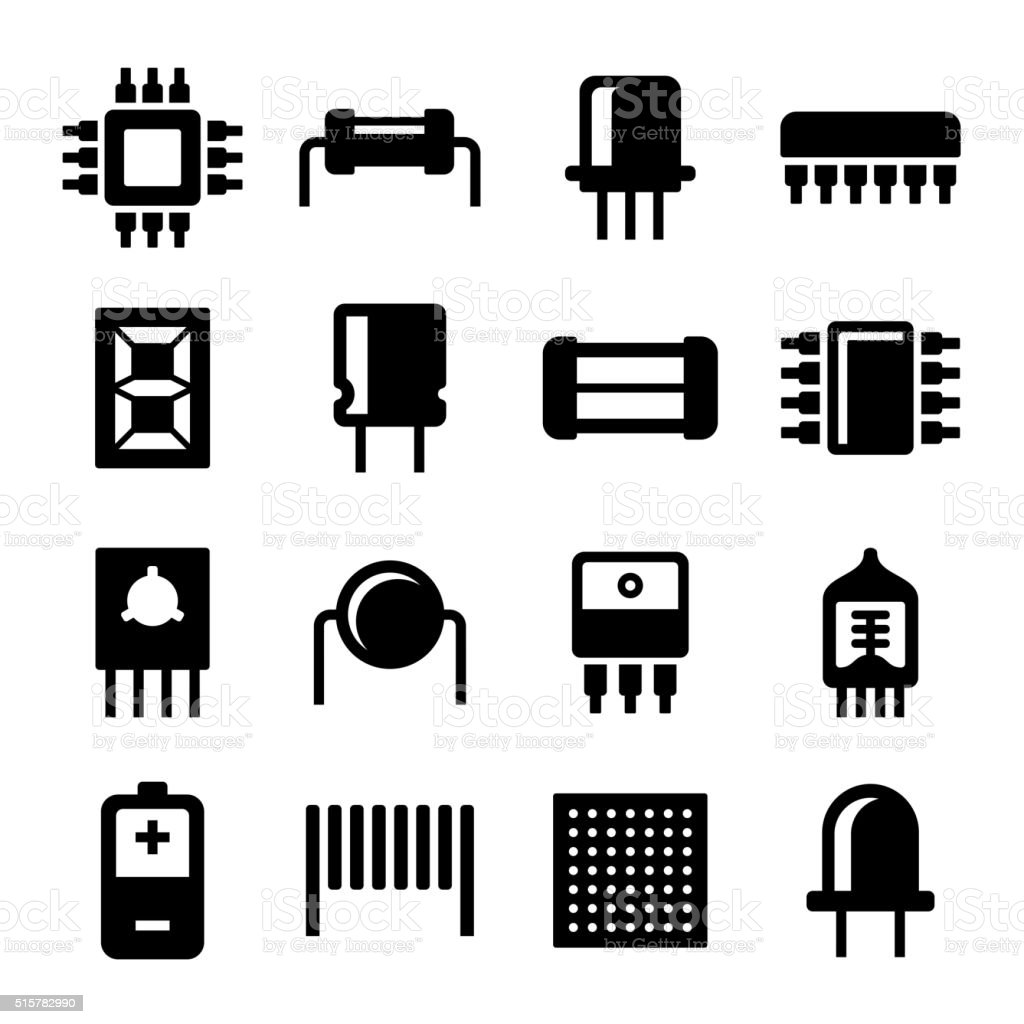 Electronic Components and Microchip Icons Set. Vector vector art illustration