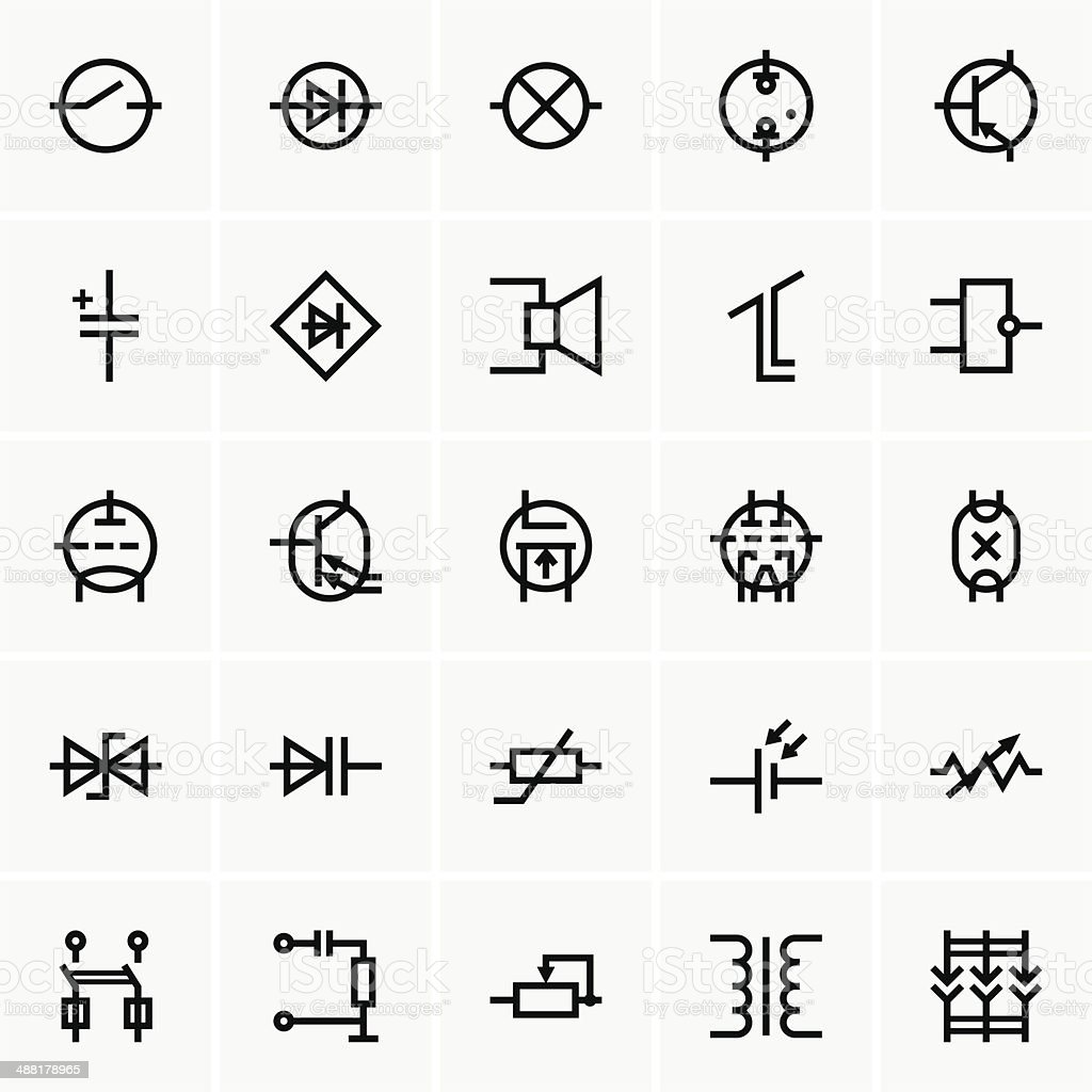 Electronic components icons vector art illustration
