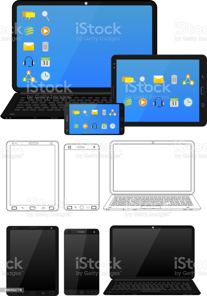 Electronic device and gadget vector art illustration