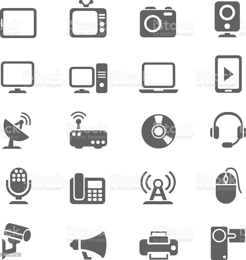 Electronic device icon set vector art illustration