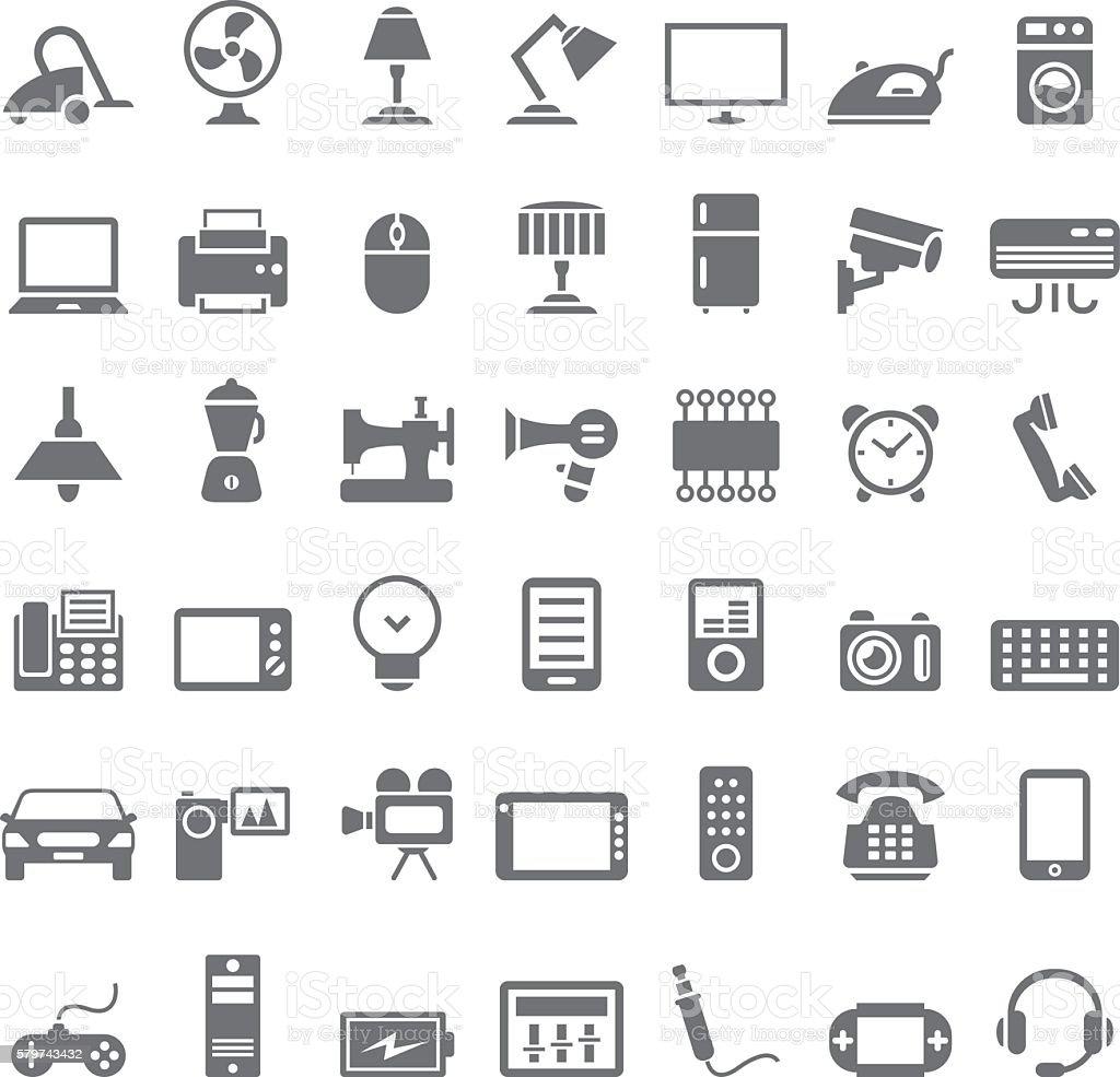 Electronic device icon set vector art illustration