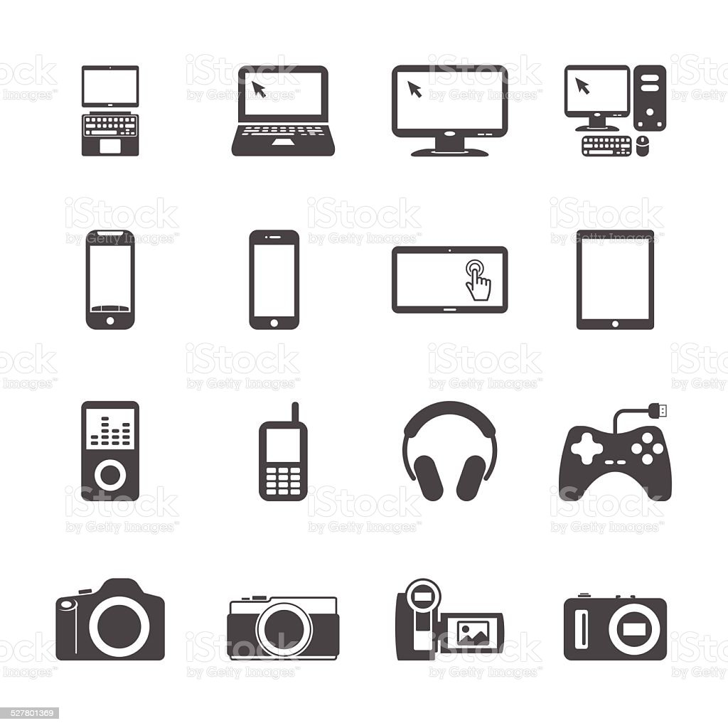 electronic devices icon set, vector eps10 vector art illustration