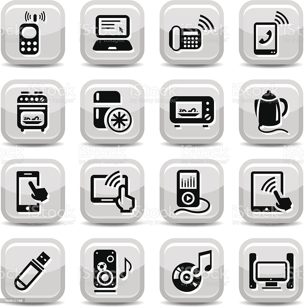 electronic devices icons set royalty-free stock vector art