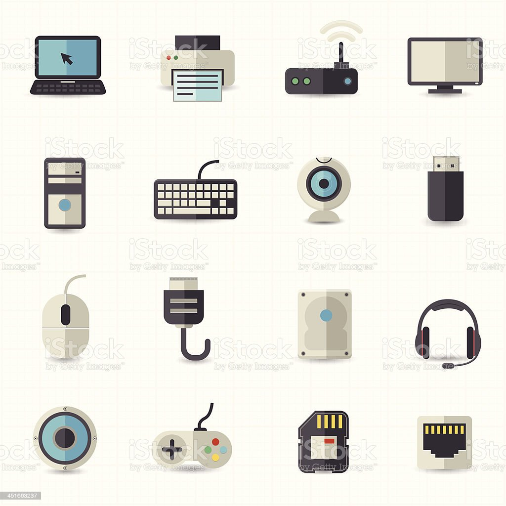Electronic devices icons royalty-free stock vector art