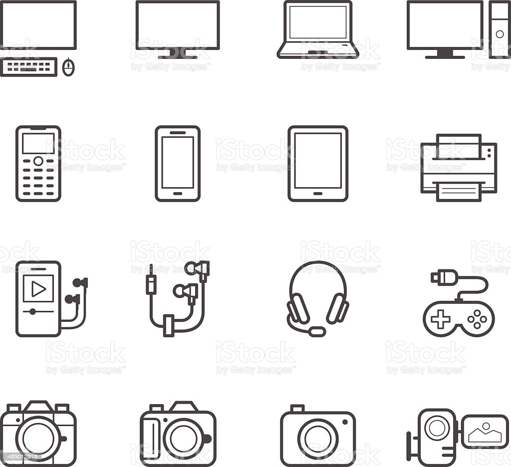 Electronic Devices Icons vector art illustration