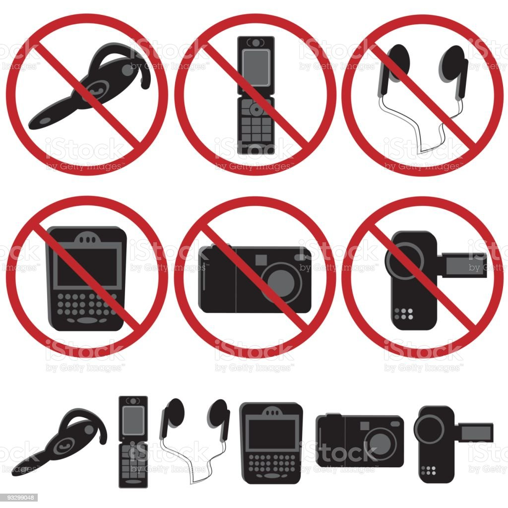 Electronic Devices not allowed vector art illustration