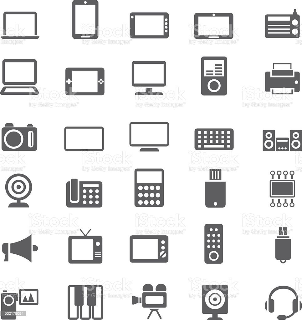 Electronic devices vector art illustration