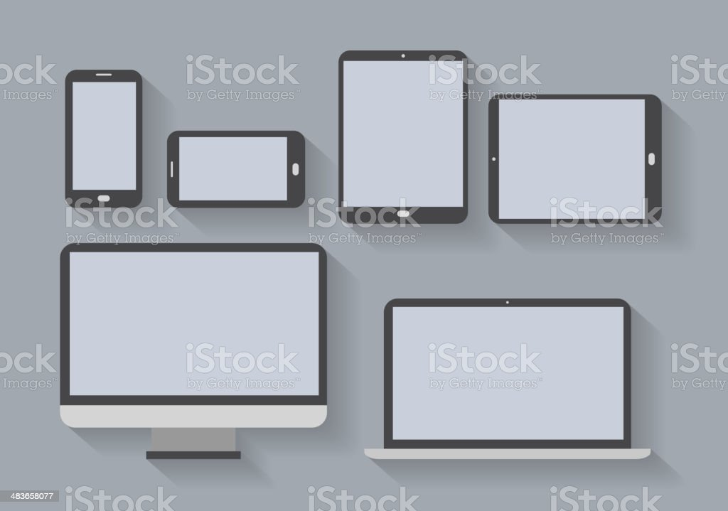 electronic devices with blank screens royalty-free stock vector art