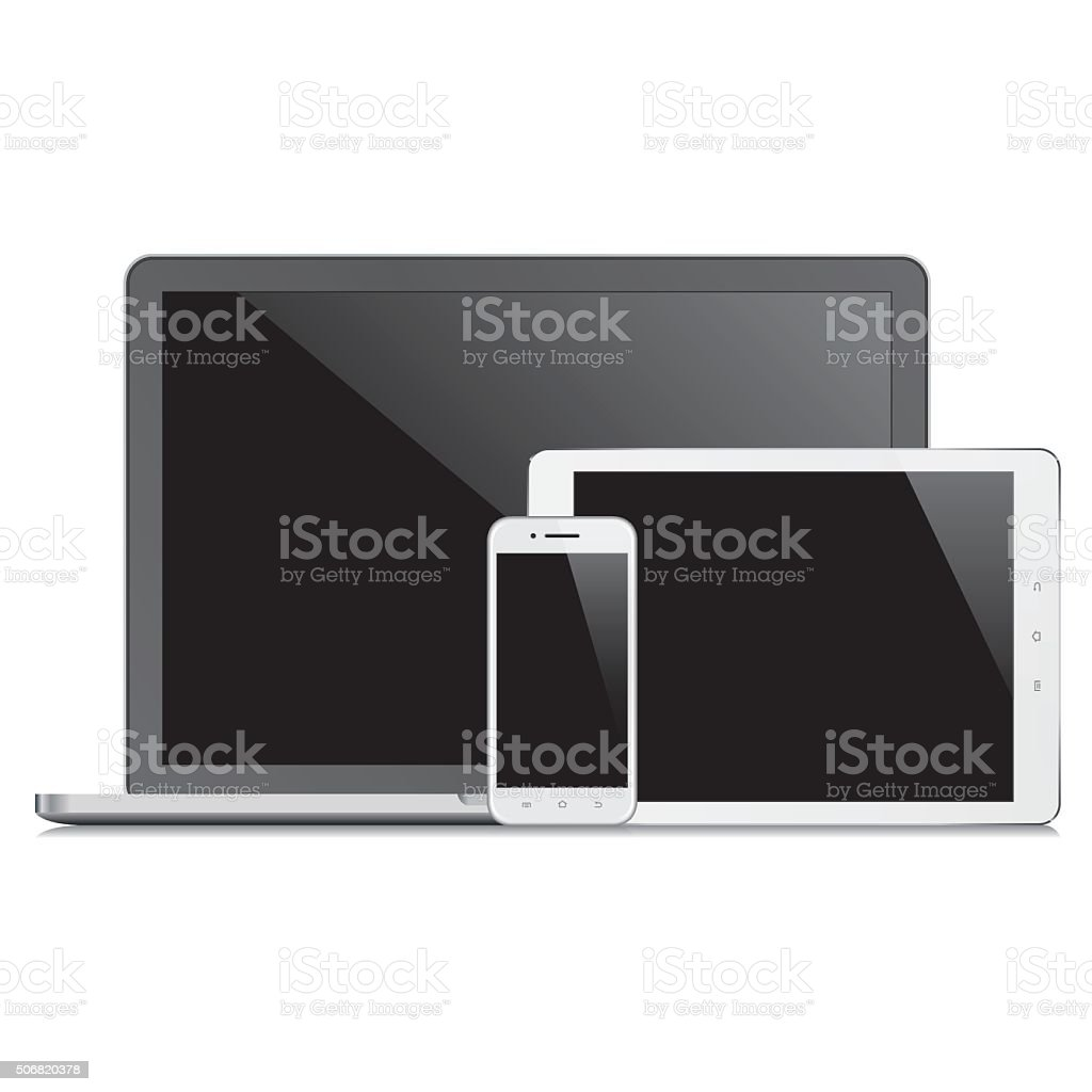 Electronic devices with blank screens. Vector vector art illustration