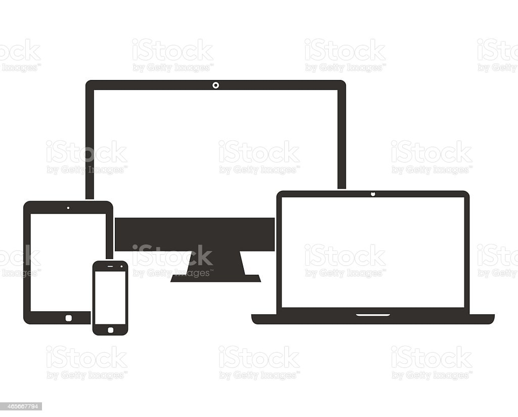 Electronic devices with white blank screens vector art illustration