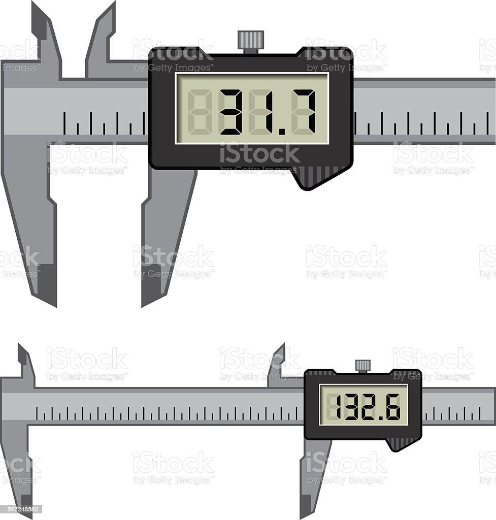 LCD electronic digital caliper micrometer gauge vernier vector art illustration