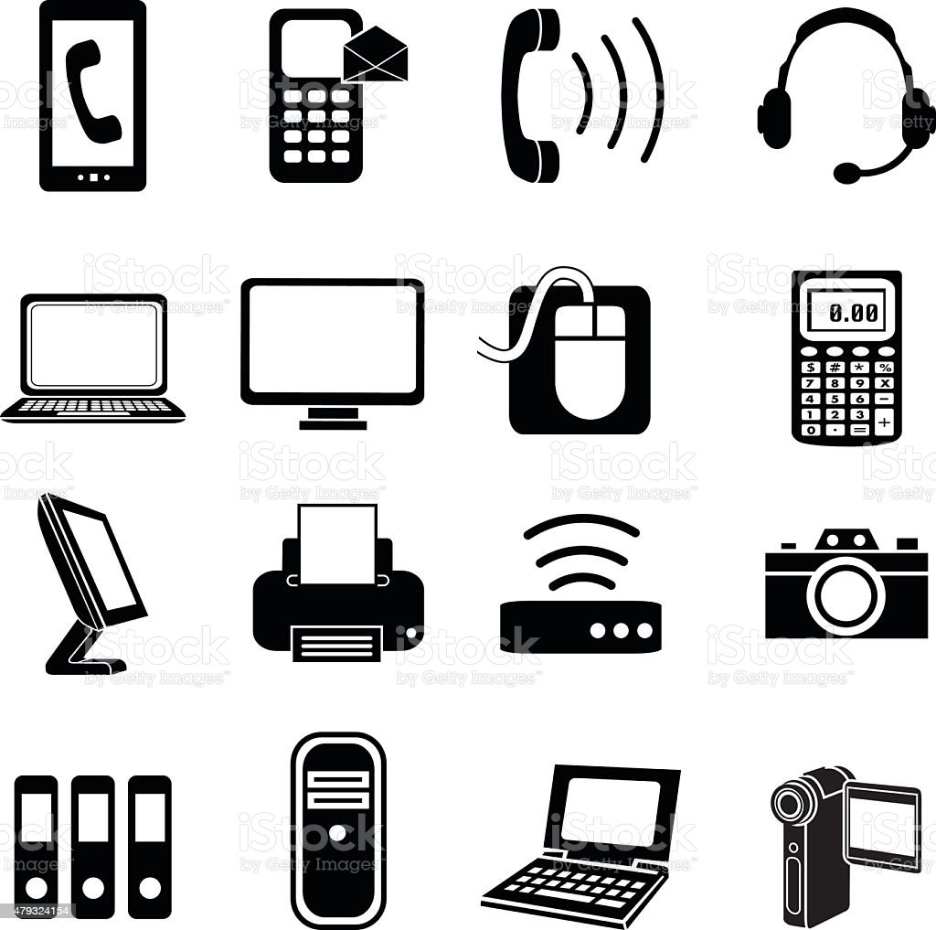 electronic equipment icons in black and white vector art illustration