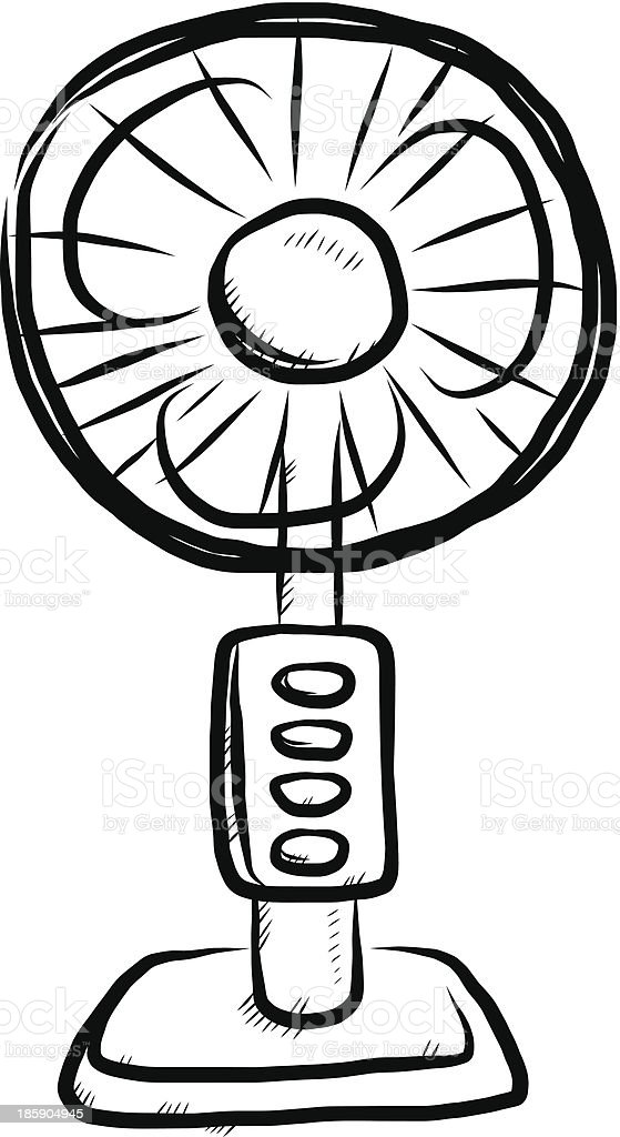 A Sketch Of A Electric Fan : Electronic fan cartoon stock vector art istock