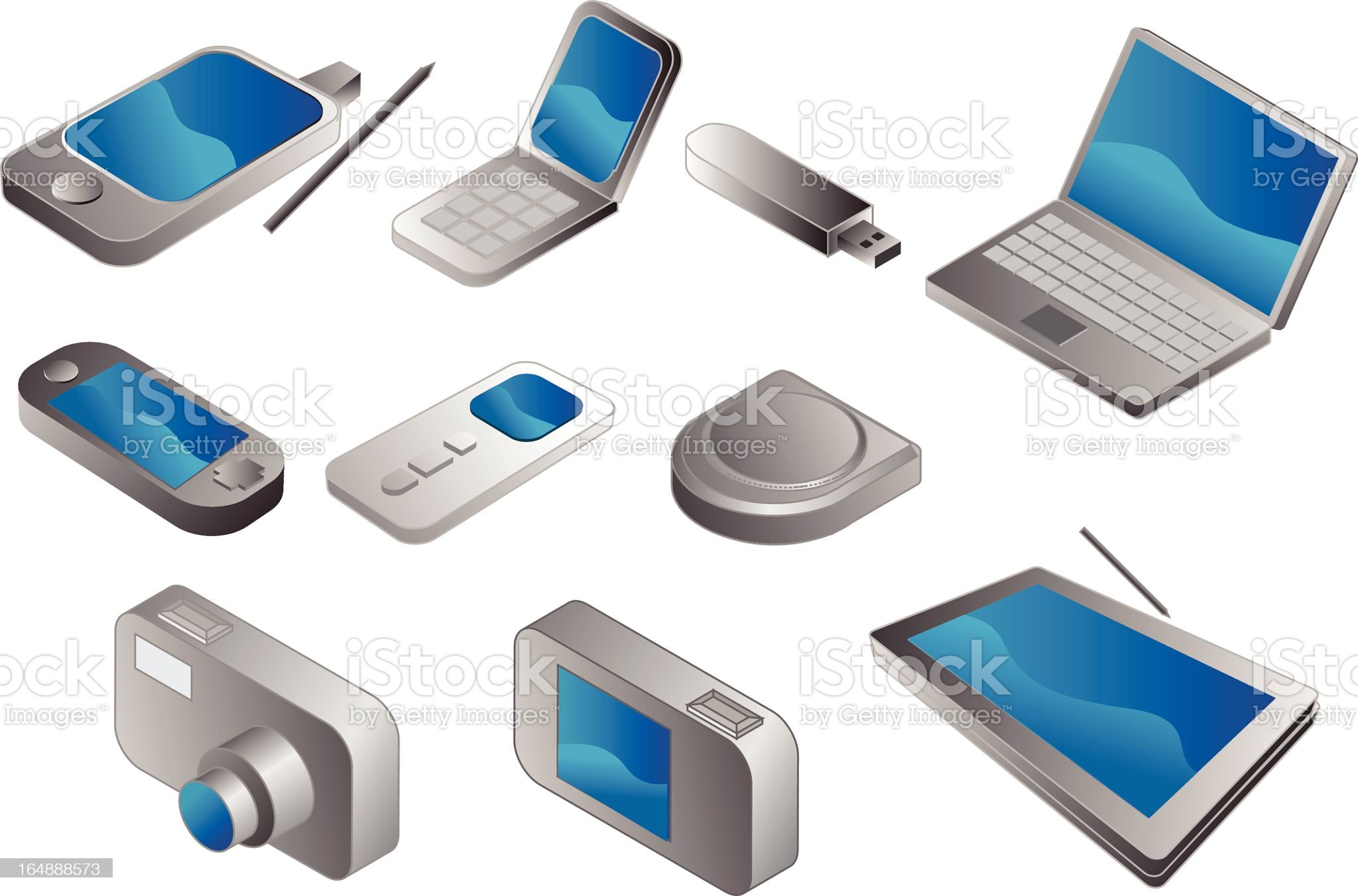 Electronic gadgets, vector clipart isometric royalty-free stock vector art