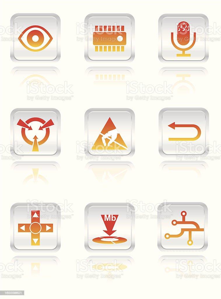 Electronic Icon Set vector art illustration