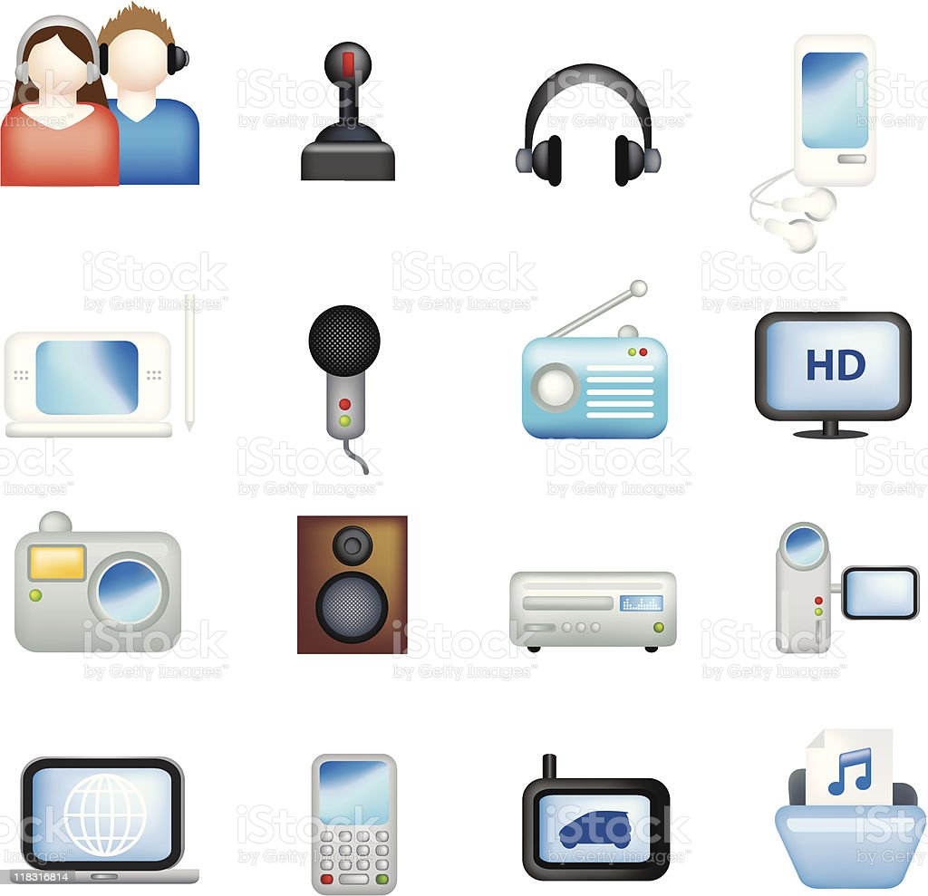 Elektronische illustration icon-set Lizenzfreies vektor illustration
