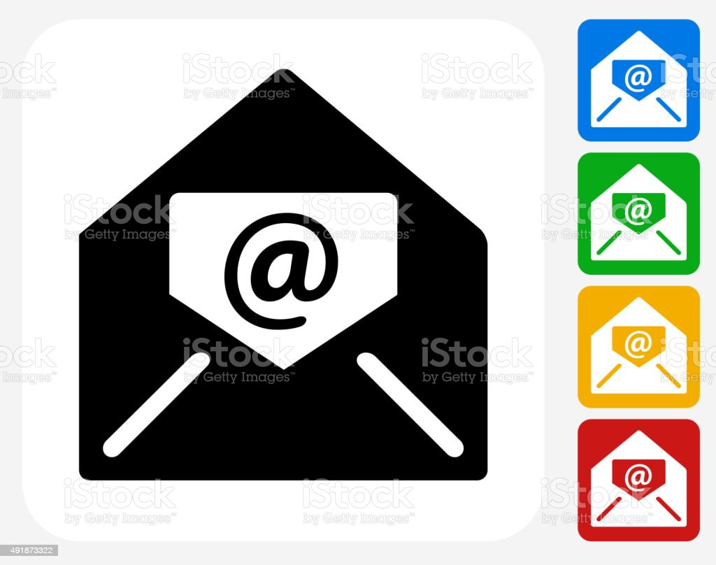 Electronic Mail Icon Flat Graphic Design vector art illustration