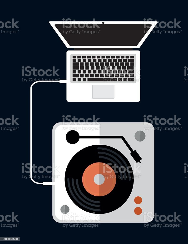 DJ electronic music party vector art illustration