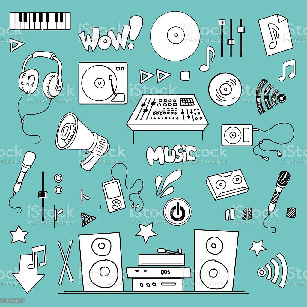 Electronic music set vector art illustration