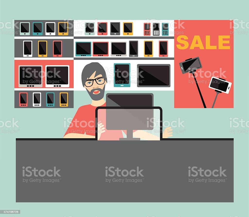 Electronic salesman in the supermarket. Flat design. vector art illustration