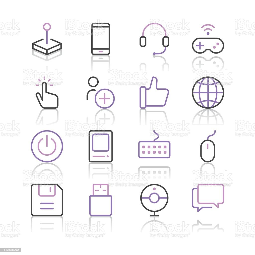 Electronic Sports and Video Games icons set 1 vector art illustration