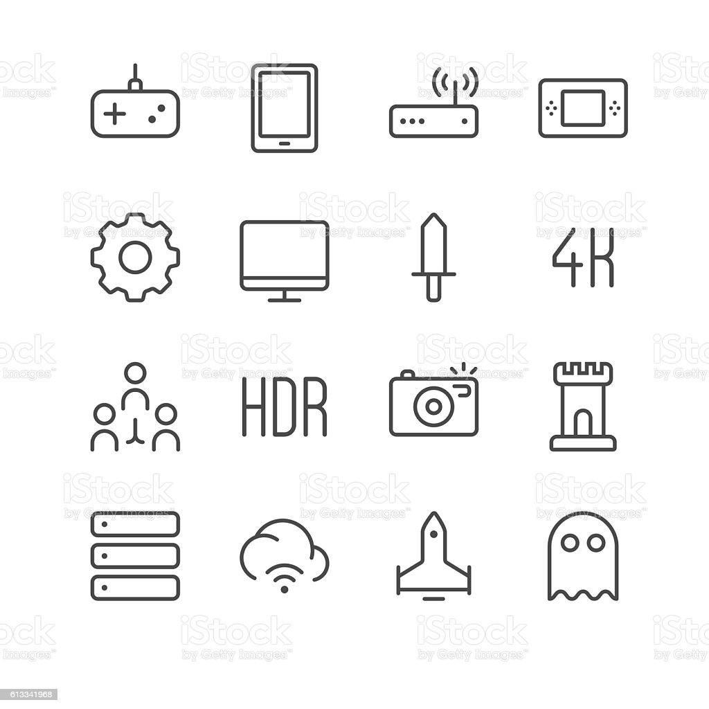 Electronic Sports and Video Games icons set 2 vector art illustration
