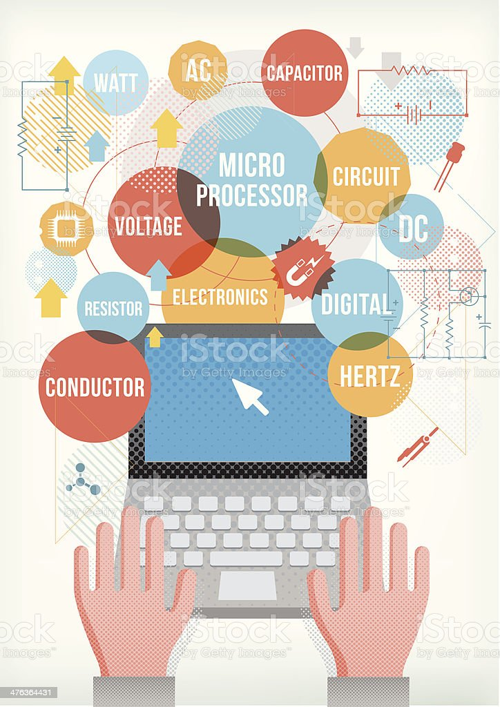 Electronic terms on laptop. vector art illustration