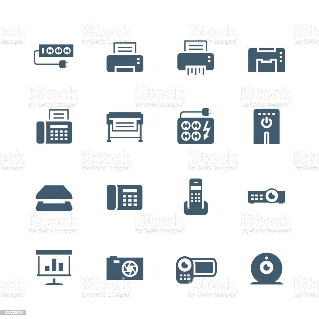 Electronics and gadgets icon set: surge suppressor, printer, shredder, multifunction device, fax, plotter, UPS, scanner, phone, projector, screen, photo camera, video camera, web camera vector art illustration