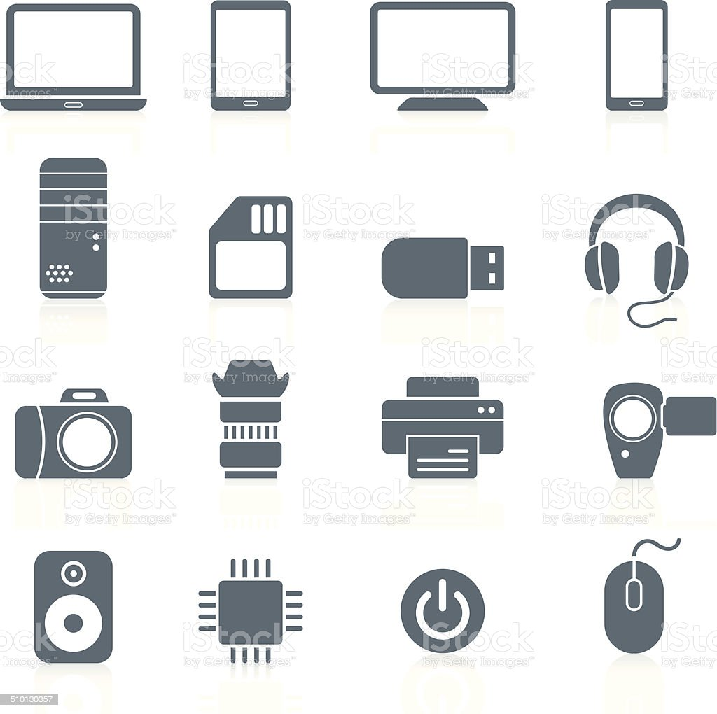 Electronics and Hardware - icons vector art illustration