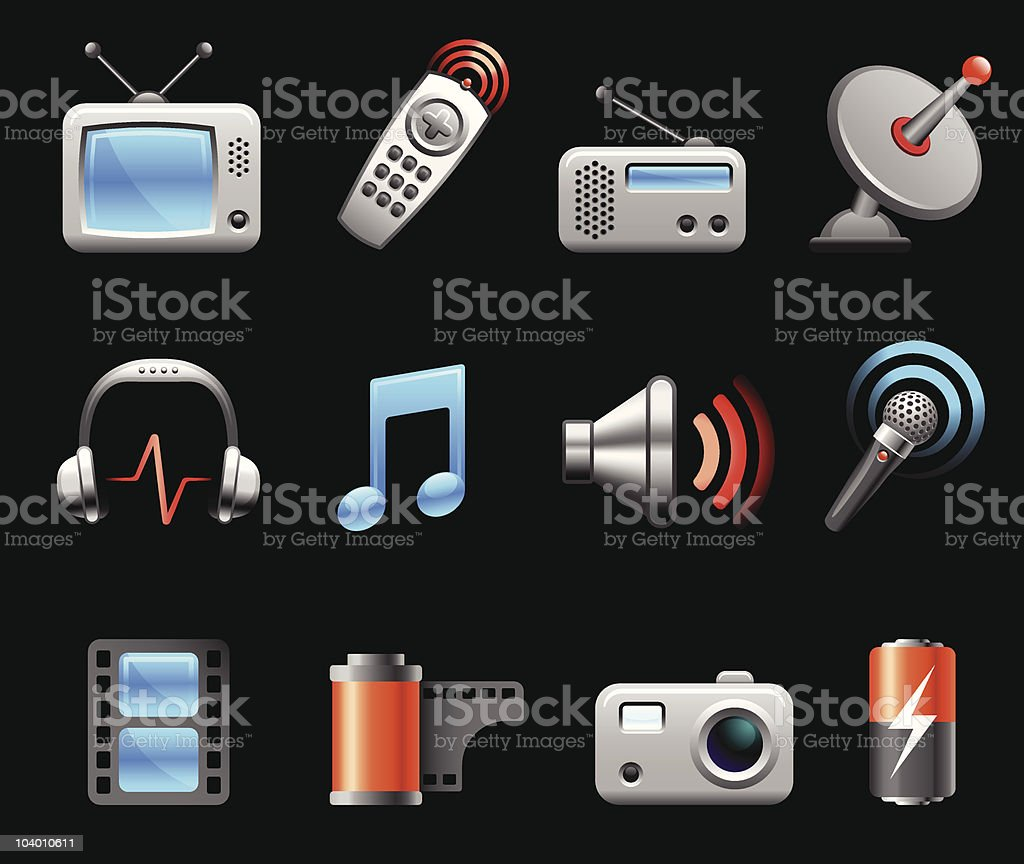 Electronics and Media icon collection on black background vector art illustration