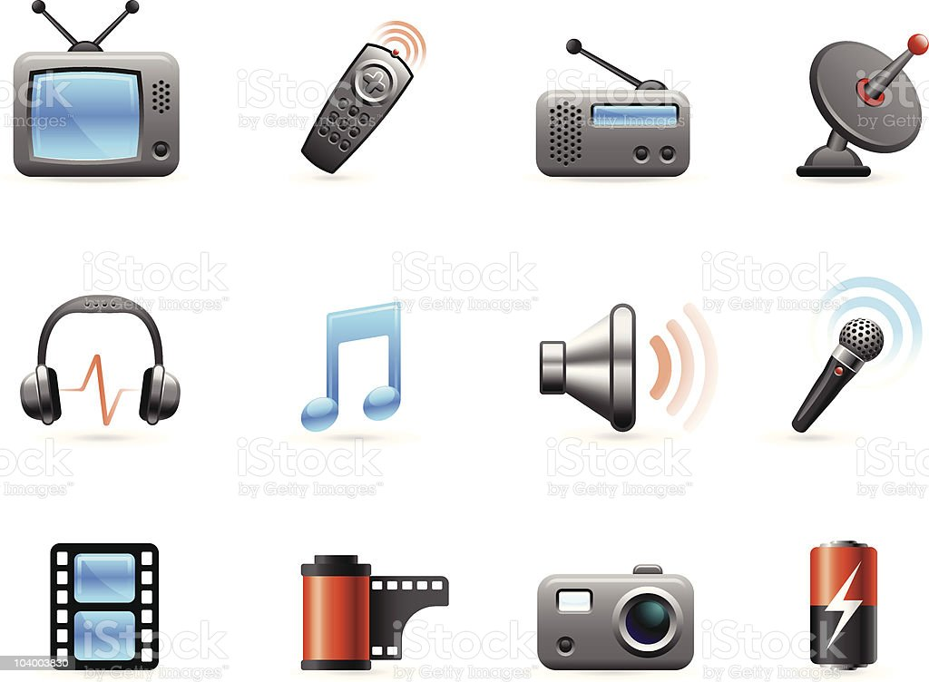 Electronics and Media icon collection vector art illustration