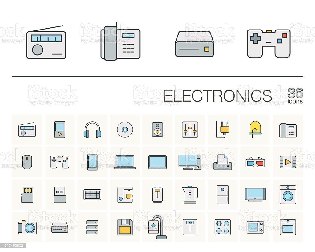 electronics and multimedia color vector icons vector art illustration