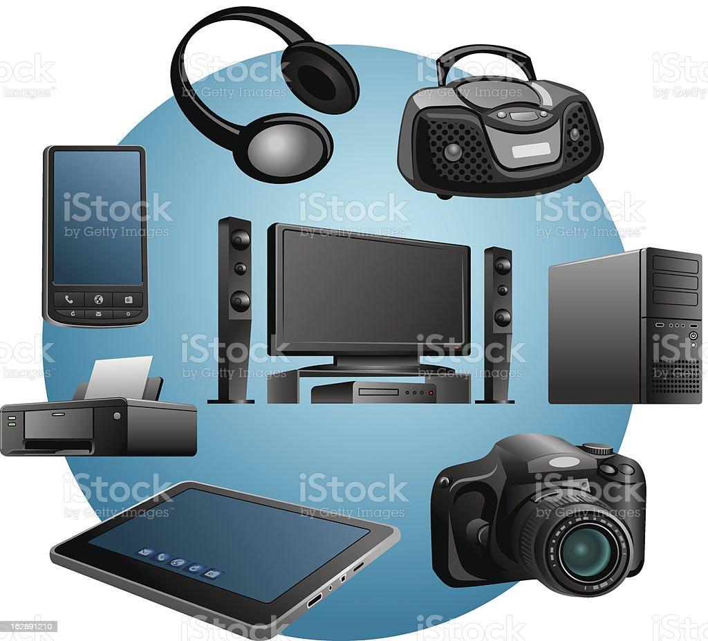 electronics appliances icons vector art illustration