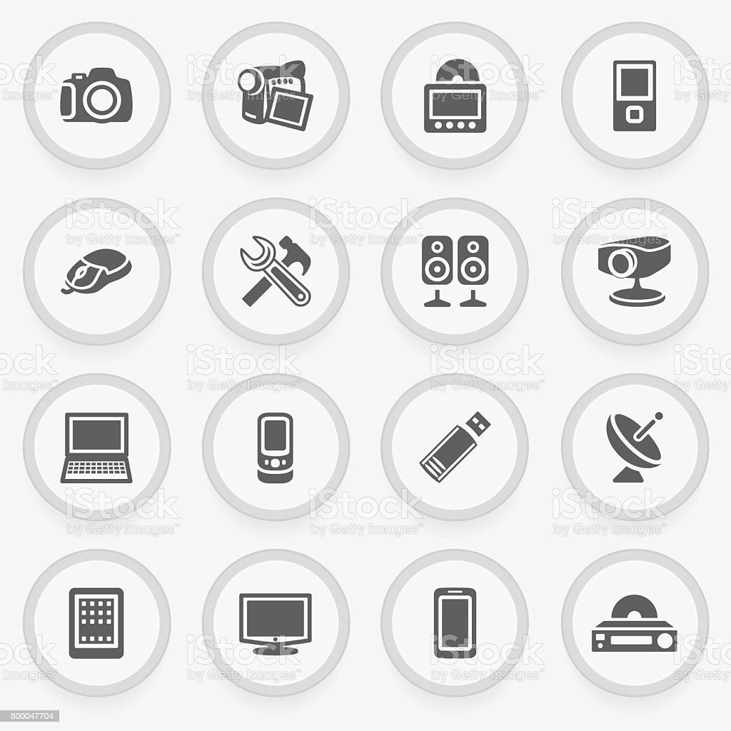 Electronics black icons on stickers. Flat design. vector art illustration