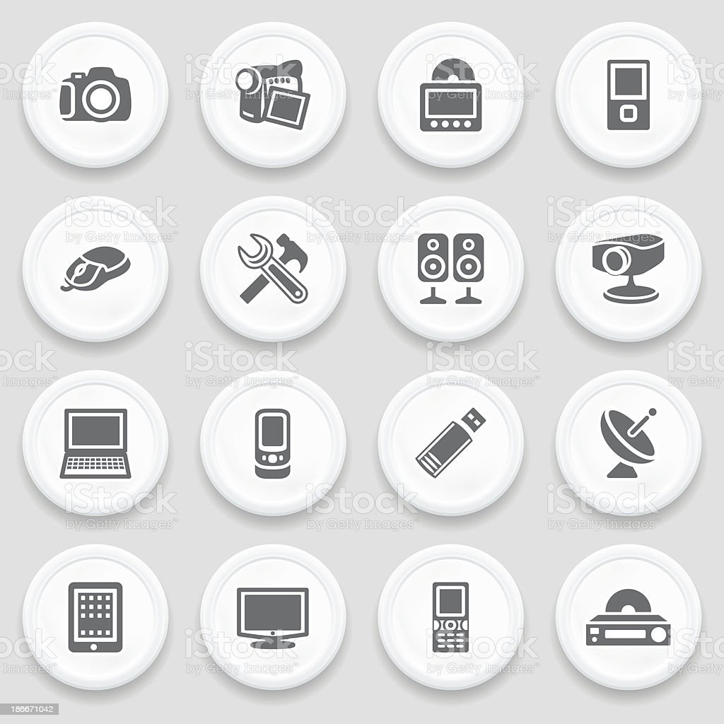 Electronics black icons on with buttons. royalty-free stock vector art