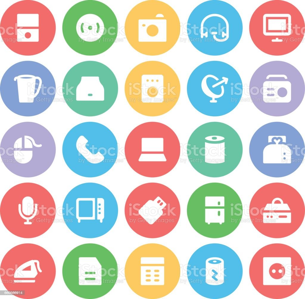 Electronics Bold Circular Vector Icons 7 vector art illustration