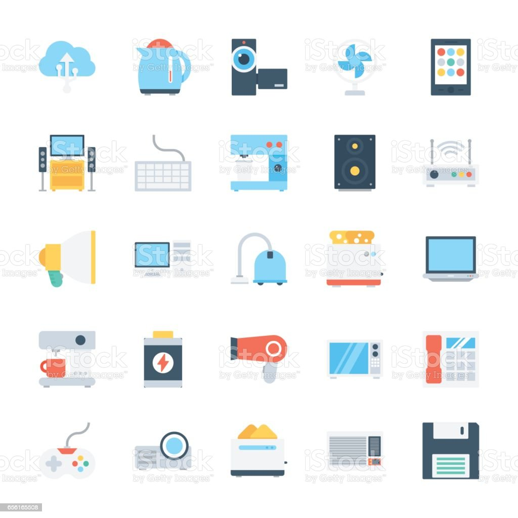 Electronics Colored Vector Icons 2 vector art illustration