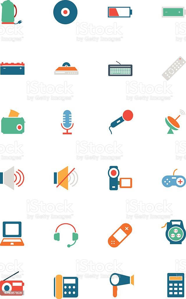 Electronics Colored Vector Icons 3 vector art illustration