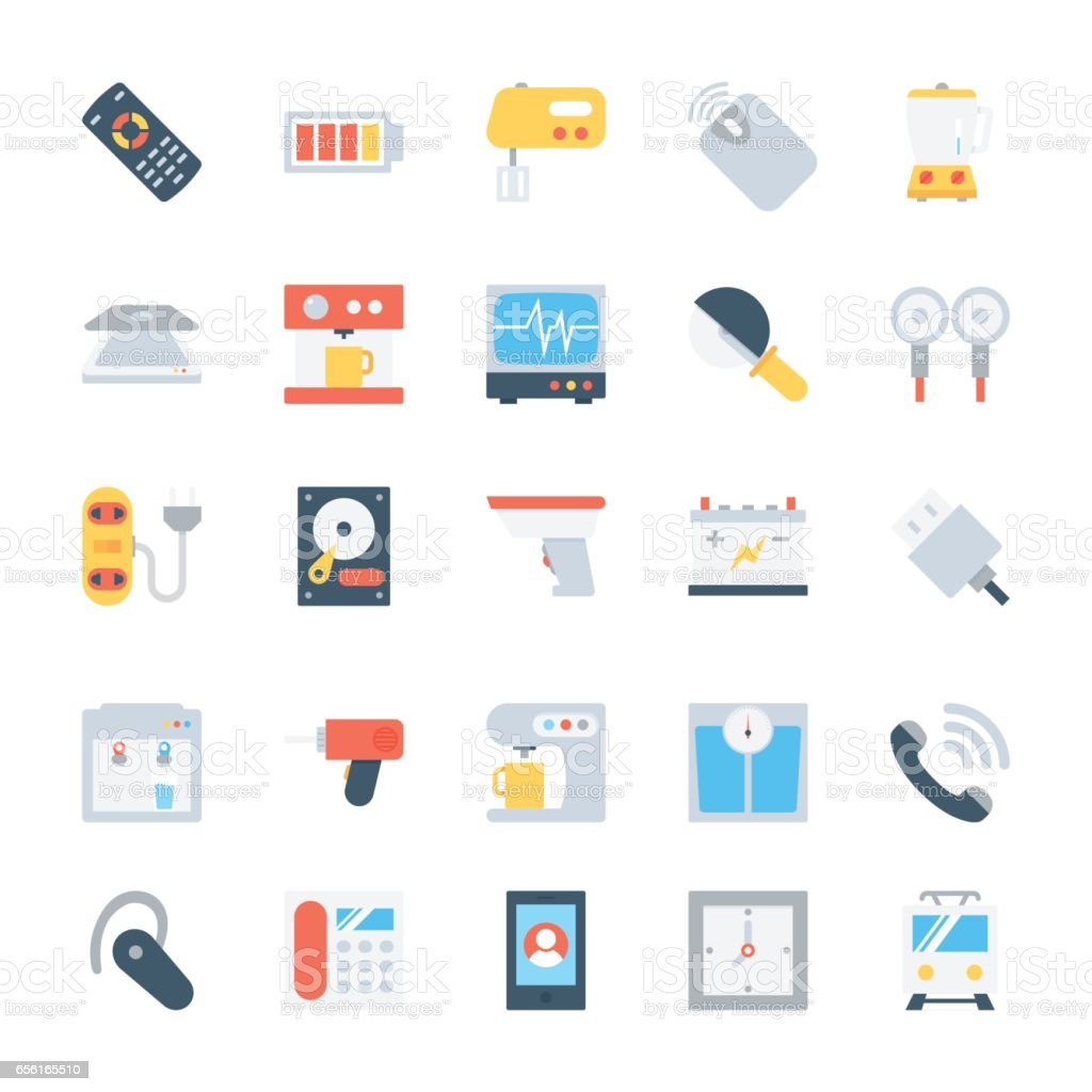 Electronics Colored Vector Icons 5 vector art illustration