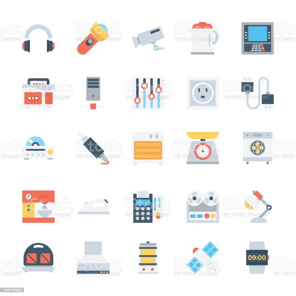 Electronics Colored Vector Icons 6 vector art illustration