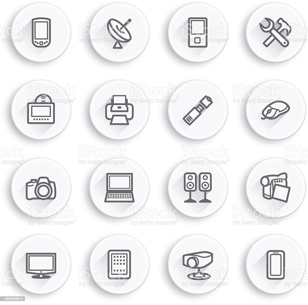 Electronics flat contour icons on white buttons. vector art illustration