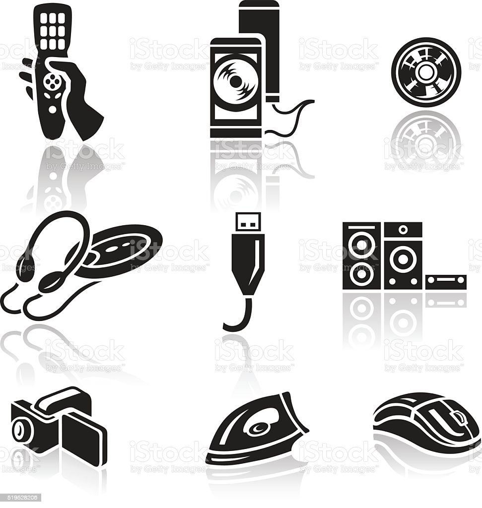 Electronics icon set. Black sign on white background vector art illustration