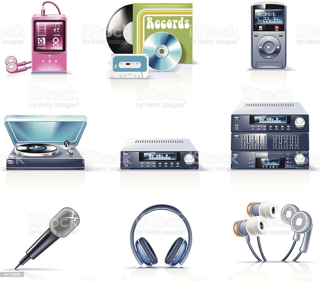 Electronics icons. Audio vector art illustration